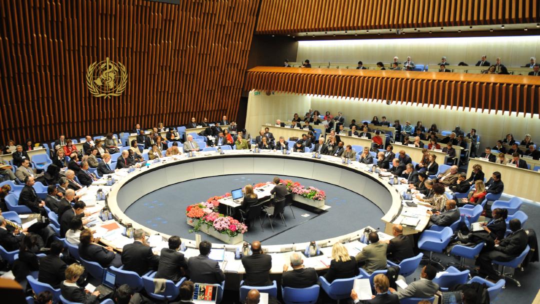 Fotografía de archivo que muestra una sesión en la sede de la OMS en Ginebra, Suiza, 14 febrero 2020