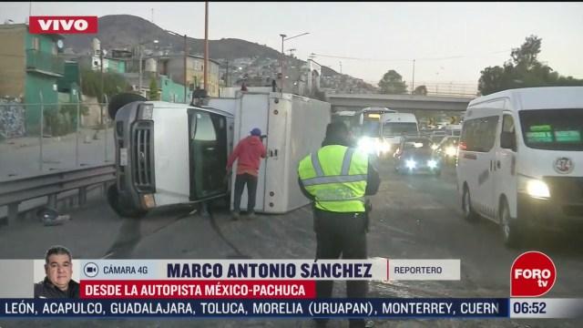 vuelca camion de carga en la autopista mexico pachuca