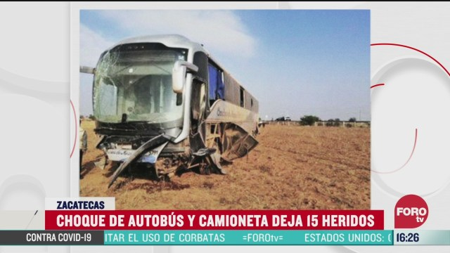 FOTO: 28 marzo 2020, al menos 15 resultan heridos tras accidente de autobus y camioneta en zacatecas