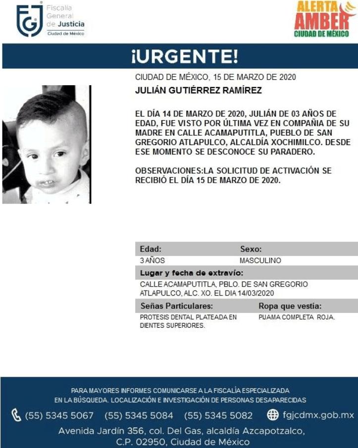IMAGEN Se activa Alerta Amber por Julián Gutiérrez Ramírez, en la CDMX (Fiscalía CDMX)