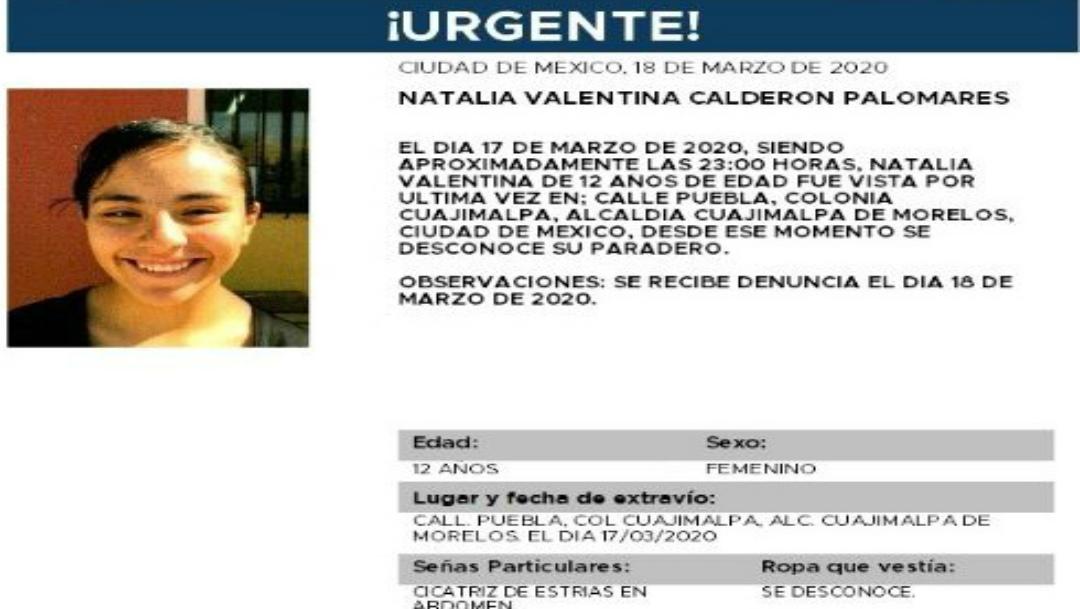 Foto: Se activa la Alerta Amber para localizar a Natalia Valentina Calderón Palomares, 19 marzo 2020