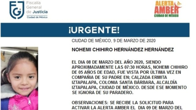 FOTO: Activan Alerta Amber para localizar a Nohemi Chihiro Hernández Henández, el 10 de marzo de 2020