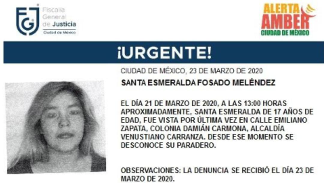 FOTO: Alerta Amber para localizar a Santa Esmeralda Fosado Meléndez, el 24 de marzo de 2020