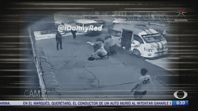 asaltan transporte publico en edomex someten a delincuente