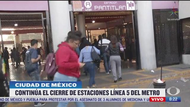 caos en pantitlan por cierre de estaciones en linea 5 del metro cdmx