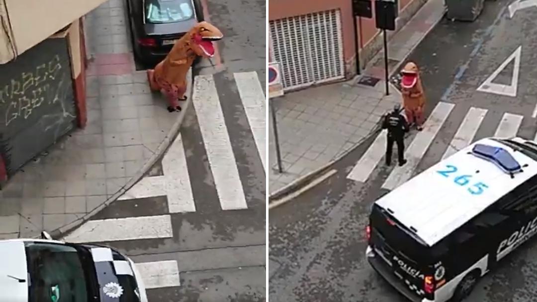 Video: Detienen a dinosaurio en España por violar cuarenta
