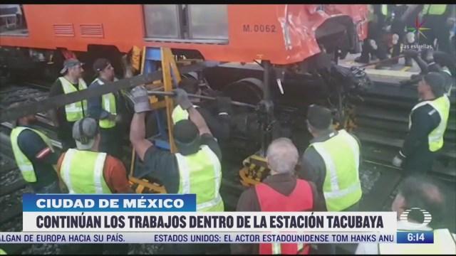 continuan los trabajos dentro de la estacion tacubaya