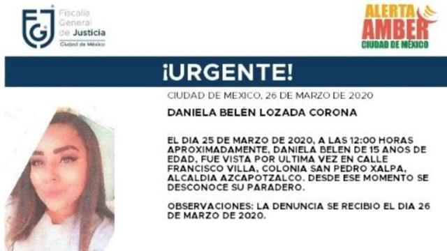 Foto: Activan Alerta Amber para localizar a Daniela Belén Lozada Corona, 27 marzo 2020