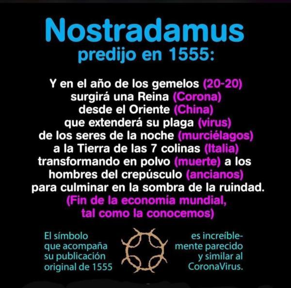 Imagen Fake News: Profecía de Nostradamus predijo llegada del coronavirus 17 marzo 2020