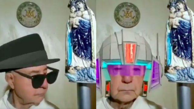 Foto Video: Sacerdote en Italia olvida desactivar filtros durante transmisión de misa en directo 27 marzo 2020