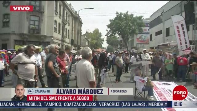 integrantes del sme marchan a segob bloquean avenida bucareli
