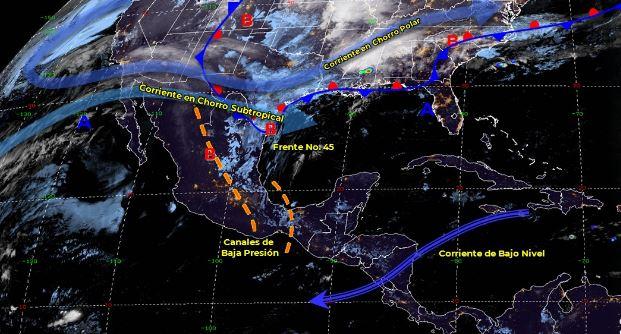 El frente frío 45 entrará en proceso de disipación sobre el noreste de México. (https://smn.conagua.gob.mx/)