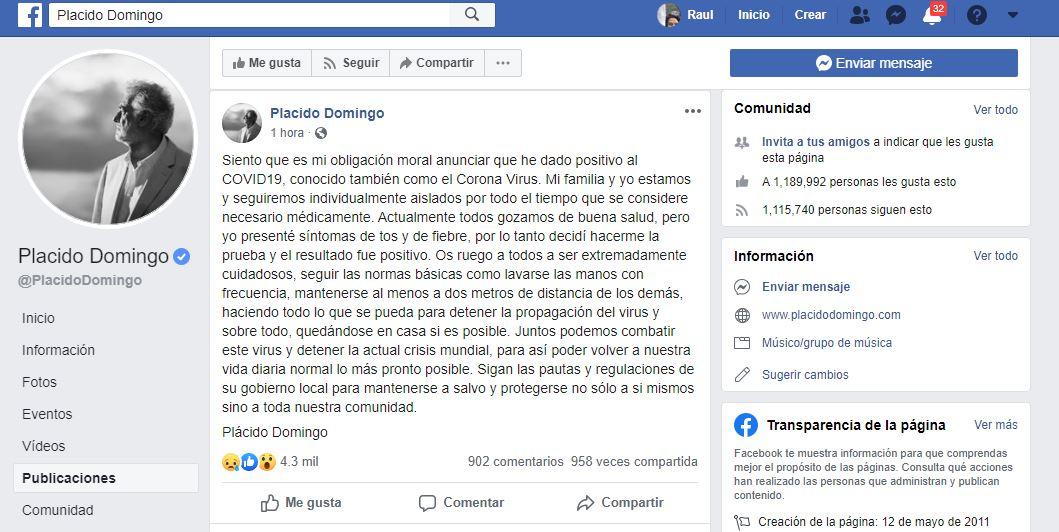 Foto: Facebook Placido Domingo
