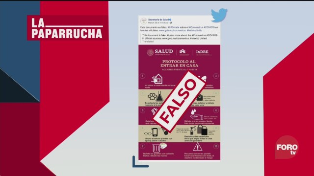 Foto: Coronavirus Protocolo Entrar Salir Casa Noticias Falsas 27 Marzo 2020