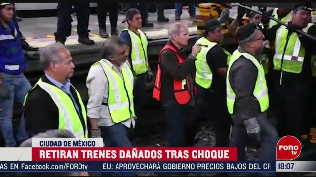 FOTO: 15 marzo 2020, retiran trenes tras choque del metro el martes 17 se restableceria el servicio