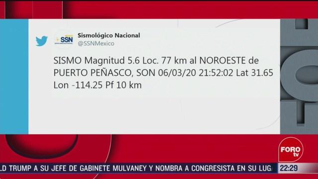 Foto: se registra sismo de magnitud 5 6 en puerto penasco sonora
