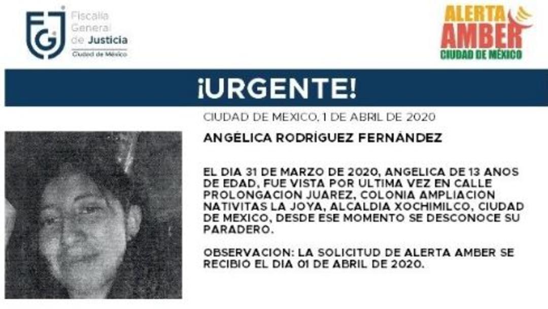 Foto: Activan Alerta Amber para localizar a Angélica Rodríguez Fernández, 2 abril 20202