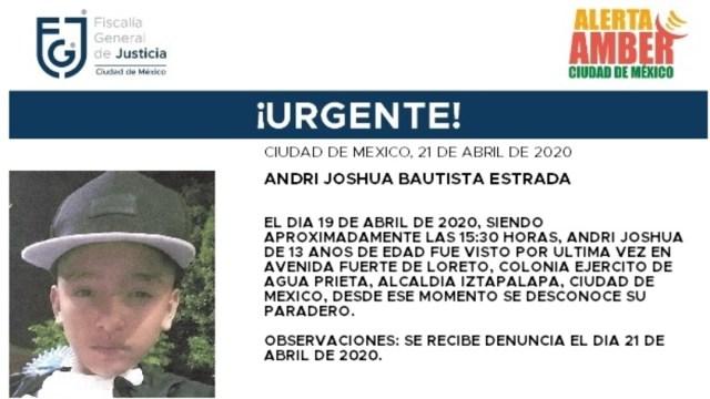 FOTO: Alerta Amber para localizar a Andri Joshua Bautista Estrada, el 22 de abril de 2020