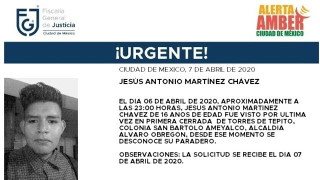 FOTO: Alerta Amber para localizar a Jesús Antonio Martínez Chávez, el 8 de abril de 2020