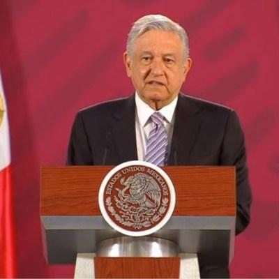 El presidente de México, Andrés Manuel López Obrador, en su conferencia de prensa matutina desde Palacio Nacional, 4 abril 2020