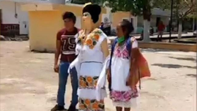 Realizan tradicional quema de la mestiza en Campeche, 24 de abril de 2020, (Noticieros Televisa)