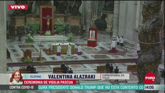 FOTO:11 de abril 2020, el papa francisco encabeza la ceremonia de la vigilia pascal en el vaticano