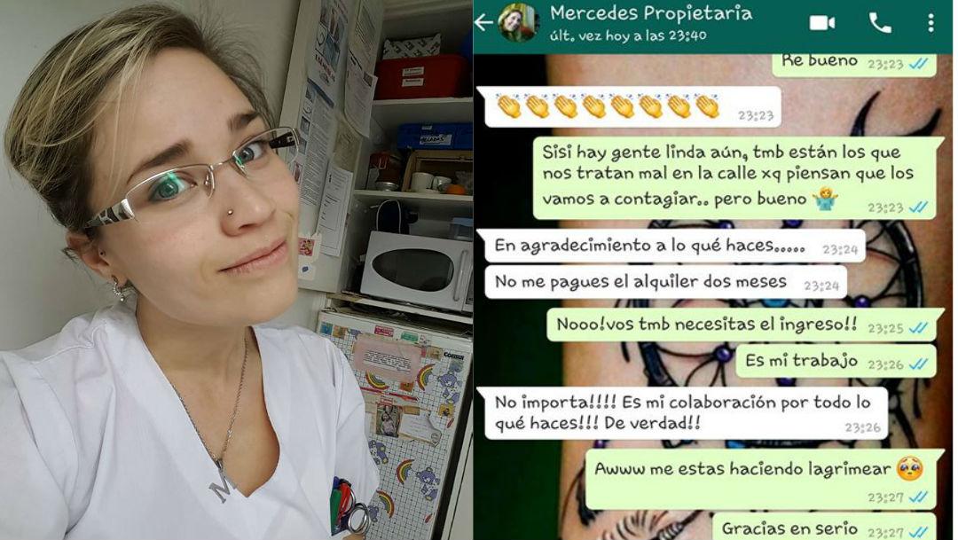 """Foto """"No me pagues la renta dos meses"""", así agradecen labor de enfermera argentina 9 marzo 2020"""
