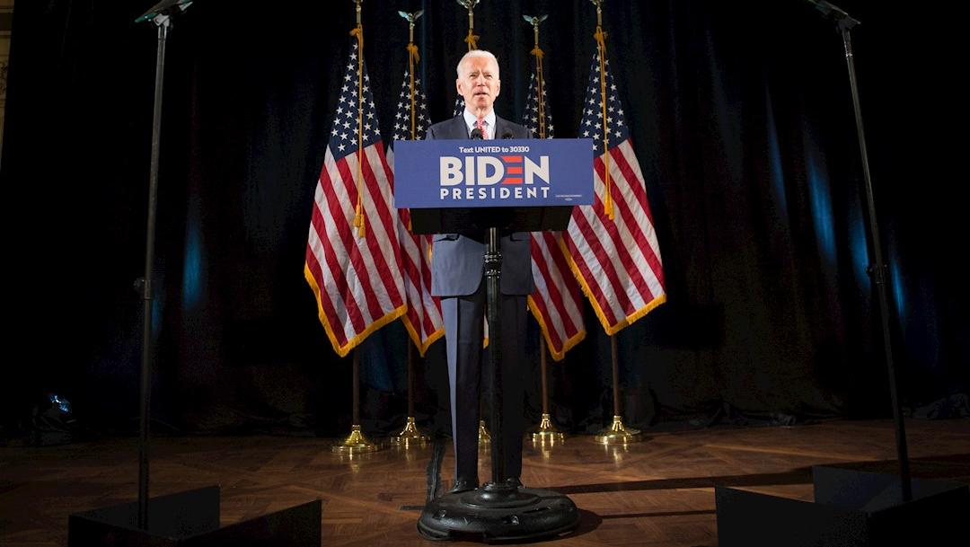 Fotografía que muestra al candidato Demócrata Joe Biden durante su discurso, 5 abril 2020