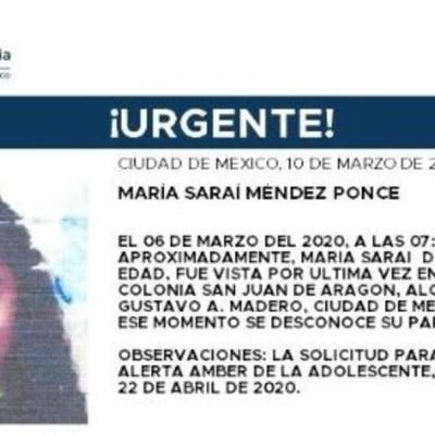 Activan Alerta Amber para localizar a María Saraí Méndez Ponce