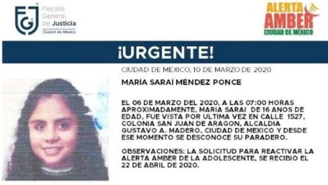 Foto: Activan Alerta Amber para localizar a María Saraí Méndez Ponce, 23 abril 2020