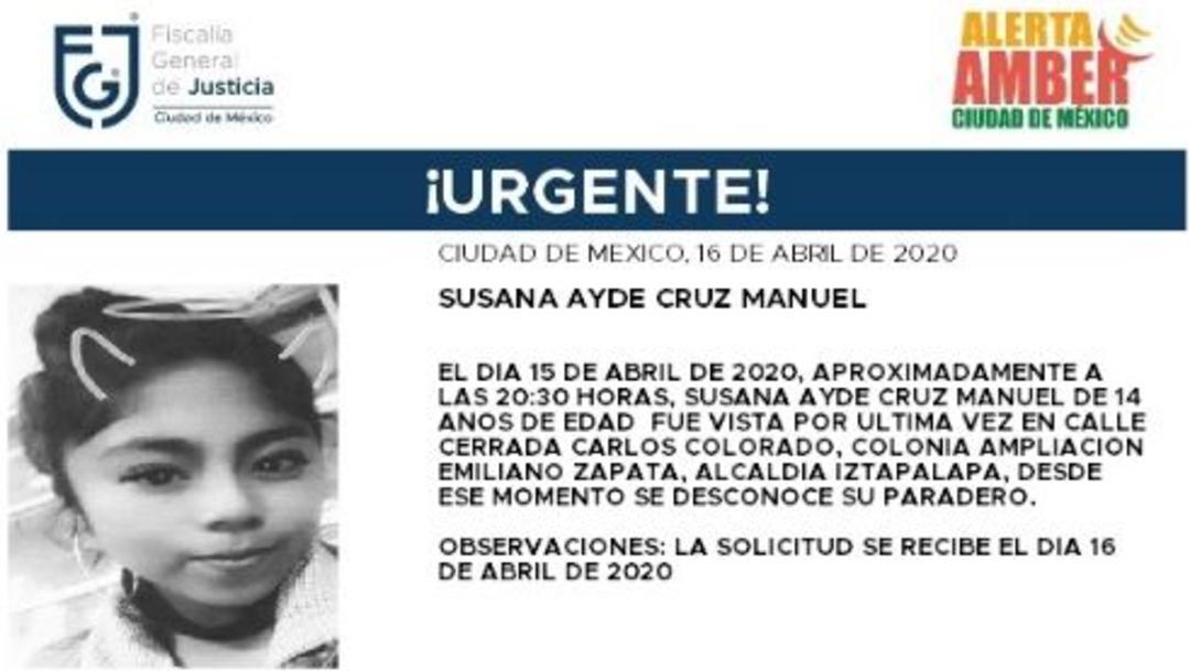 Activan Alerta Amber para localizar a Susana Ayde Cruz Manuel. (Foto: @FiscaliaCDMX)
