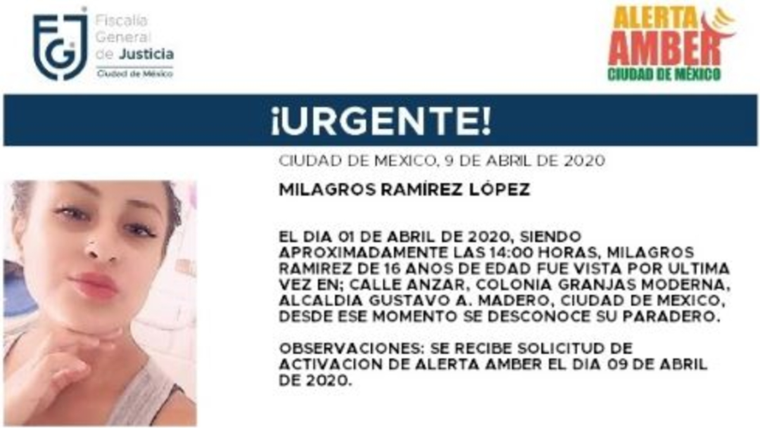 Foto: Activan Alerta Amber para localizar a Milagros Ramírez López