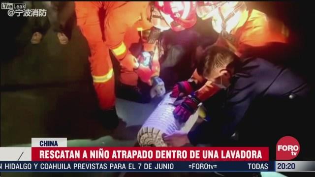 Foto: Video Rescatan Niño Atrapado Lavadora 1 Abril 2020
