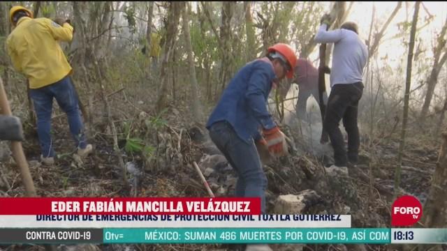 FOTO: se mantienen activos seis incendios forestales en chiapas