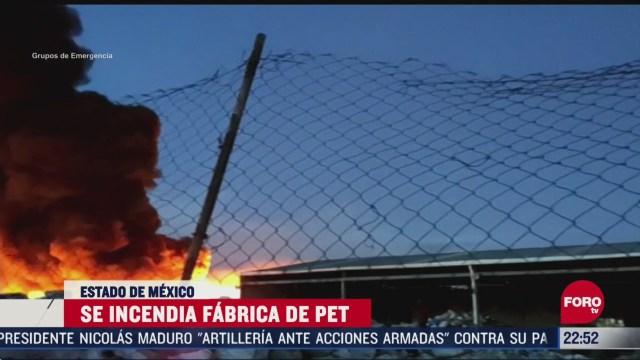 FOTO: 5 de abril 2020, se registra fuerte incendio en fabrica de pet en el estado de mexico