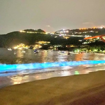 Fenómeno bioquímico ilumina de azul las playas de Acapulco