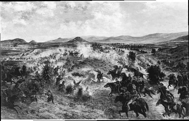 Grabado que muestra la batalla de Miahuatlán, una escena de la Invasión Francesa a México en 1866.