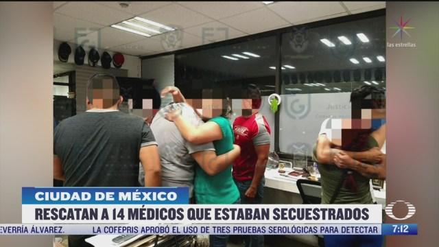 agentes de la fiscalia cdmx rescatan a 14 trabajadores de salud secuestrados