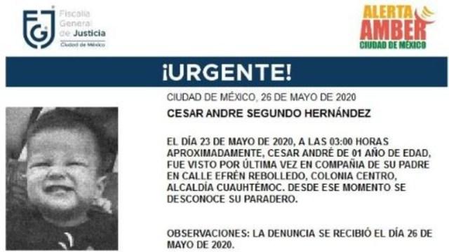 FOTO: Activan Alerta Amber para localizar a César André Segundo Hernández, el 27 de mayo de 2020