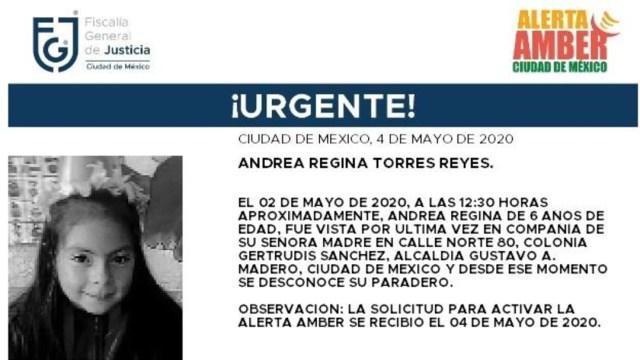 FOTO: Activan Alerta Amber para localizar a Andrea Regina Torres Reyes, el 5 de mayo de 2020
