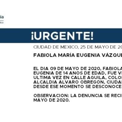 FOTO: Activan Alerta Amber para localizar a Fabiola María Eugenia Vázquez García, el 26 de mayo de 2020