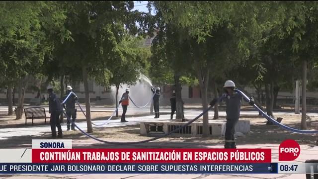 FOTO: 31 de mayo 2020, autoridades municipales en sonora sanitizan espacios publicos