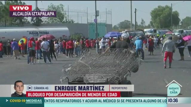 bloquean calles por desaparicion de menor de edad