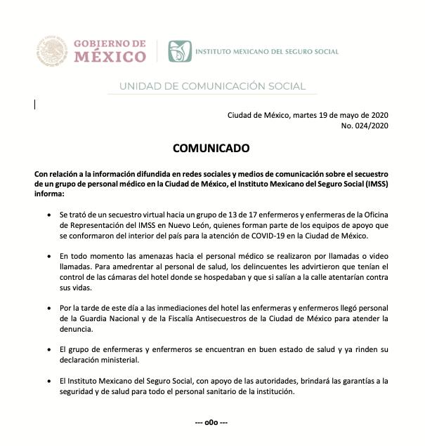 Comunicado IMSS secuestro médicos 19 de Mayo 2020