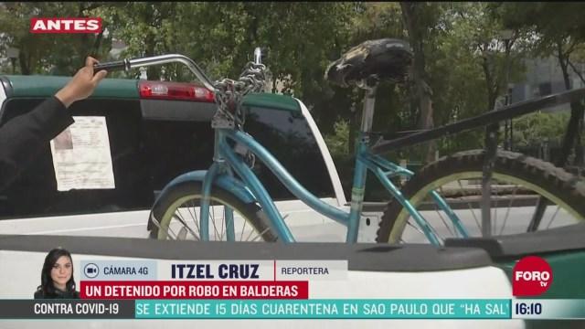 FOTO: detienen a hombre por robo de bicicleta la alameda central de cdmx