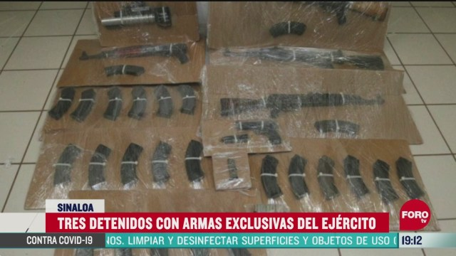 FOTO: 31 de mayo 2020, detienen a tres con armas exclusivas del ejercito en sinaloa