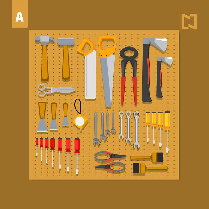 Reto visual Encuentra las 8 diferencias entre estos 2 tableros de herramientas
