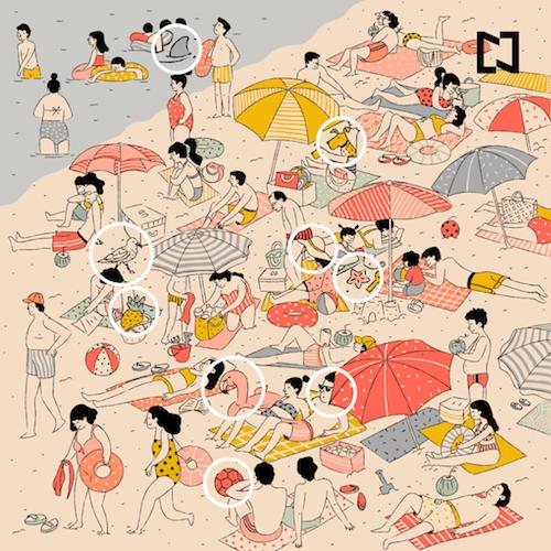 Encuentra ocho objetos perdidos playa reto visual imagen