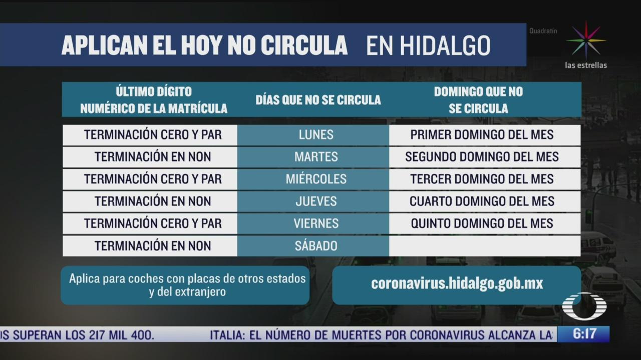 hidalgo implementa programa hoy no circula por coronavirus