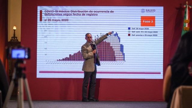 Hugo López-Gatell, subsecretario de Salud, explica una gráfica sobre muertes por coronavirus. Cuartoscuro